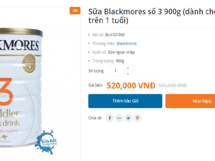 Sữa Blackmores số 3 giá bao nhiêu tiền?
