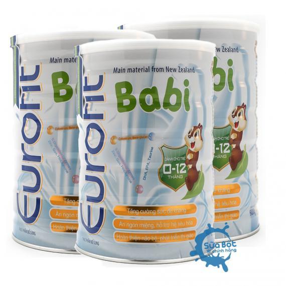 Combo 3 lon sữa eurofit Babi 900g (dành cho trẻ từ 0 - 12 tháng)