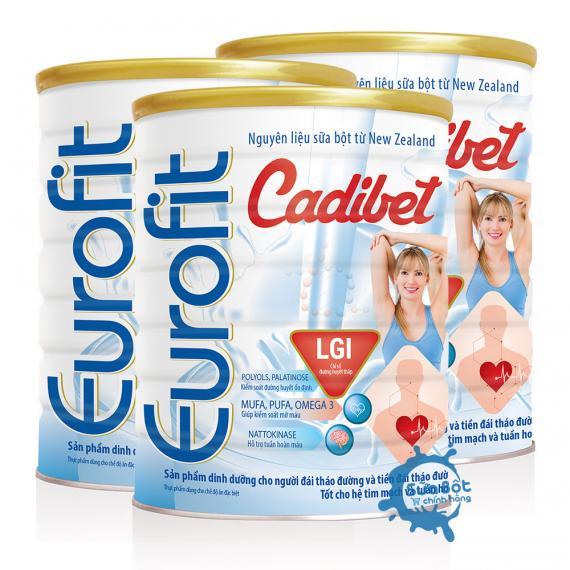 Combo 3 lon sữa Eurofit Cadibet 900g (dành cho người đái tháo đường)