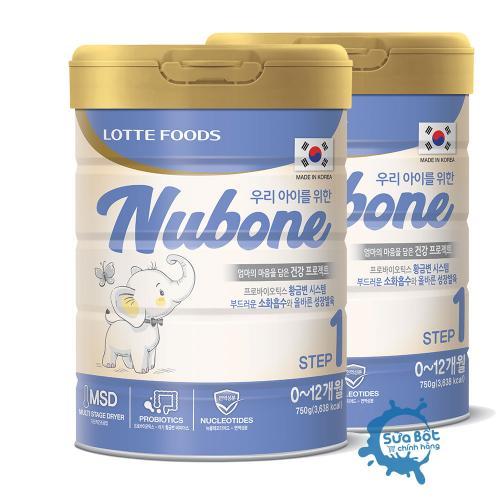 Combo 2 lon Sữa Nubone Step 1 750g (dành cho trẻ từ 0 - 12 tháng)